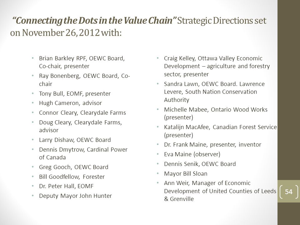 """""""Connecting the Dots in the Value Chain"""" Strategic Directions set on November 26, 2012 with: Brian Barkley RPF, OEWC Board, Co-chair, presenter Ray Bo"""