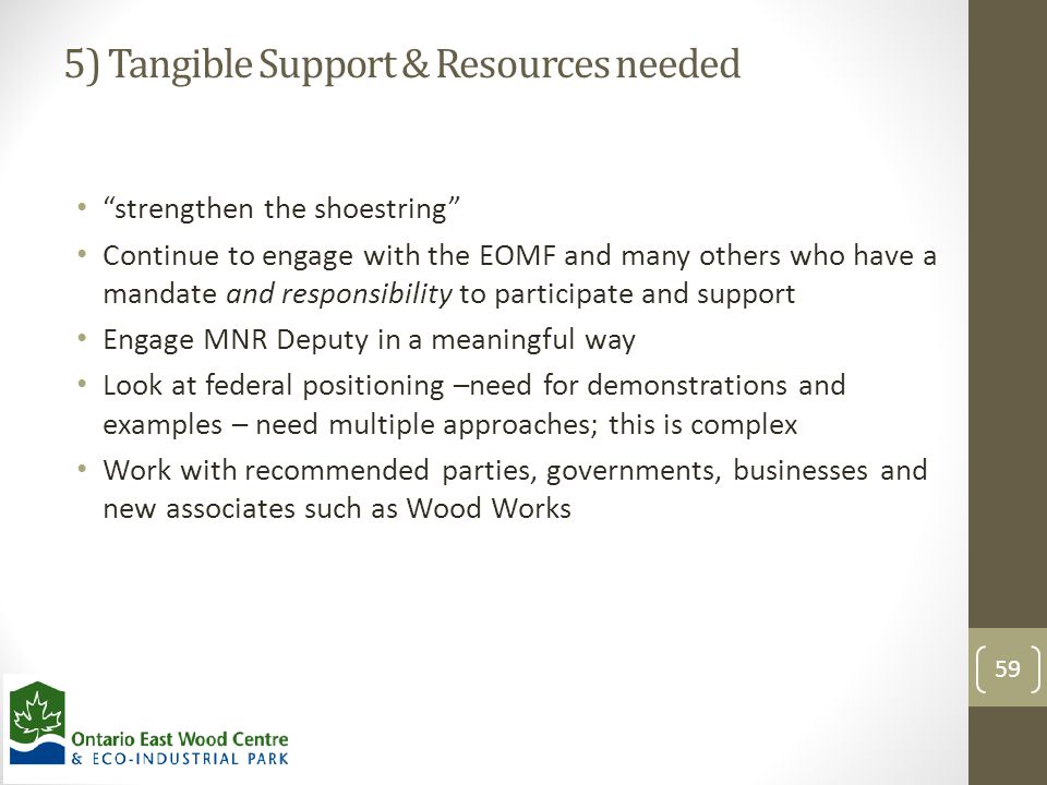 """5) Tangible Support & Resources needed """"strengthen the shoestring"""" Continue to engage with the EOMF and many others who have a mandate and responsibil"""