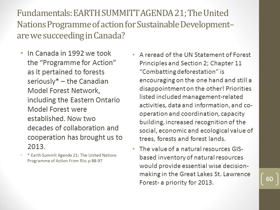 Fundamentals from the Statement of Forest Principles of the United Nations 1992 Canadian, Ontario and local governments, private and public sector members recognize (even in 2013) that: forests are essential to economic development and the maintenance of all forms of life A holistic and balanced approach to environment and development is essential responsibility for forest management, conservation and sustainable development should be pursued at the appropriate level of government Forest resources and forest lands should be sustainably managed to meet the social, economic, ecological, cultural and spiritual needs of present and future generations.