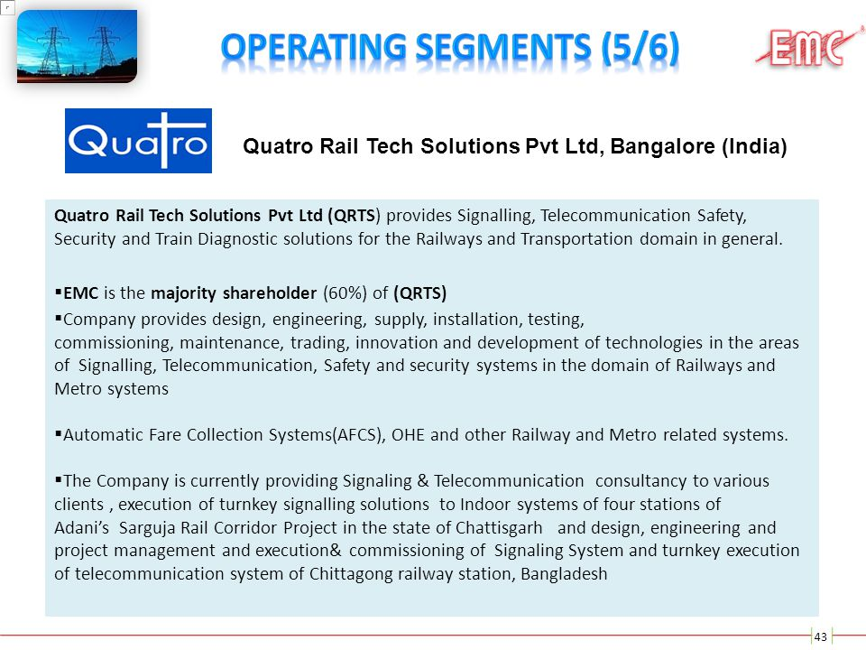 43 Quatro Rail Tech Solutions Pvt Ltd (QRTS) provides Signalling, Telecommunication Safety, Security and Train Diagnostic solutions for the Railways a