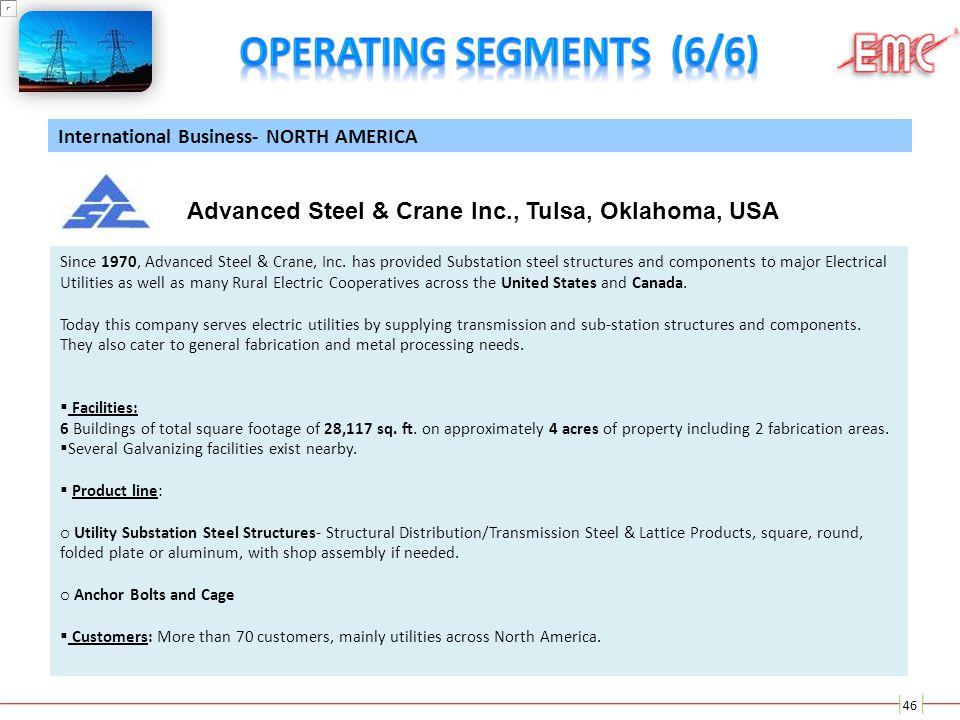 46 International Business- NORTH AMERICA Advanced Steel & Crane Inc., Tulsa, Oklahoma, USA Since 1970, Advanced Steel & Crane, Inc. has provided Subst