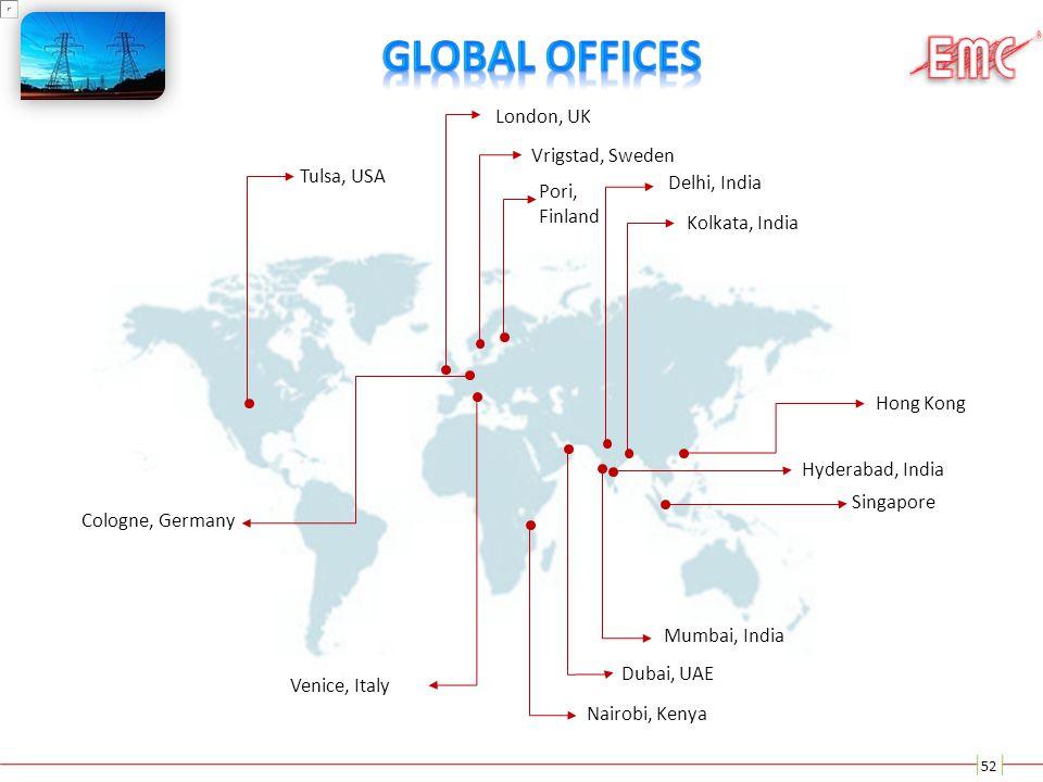 52 Nairobi, Kenya Tulsa, USA London, UK Venice, Italy Kolkata, India Hyderabad, India Mumbai, India Delhi, India Dubai, UAE Vrigstad, Sweden Pori, Fin