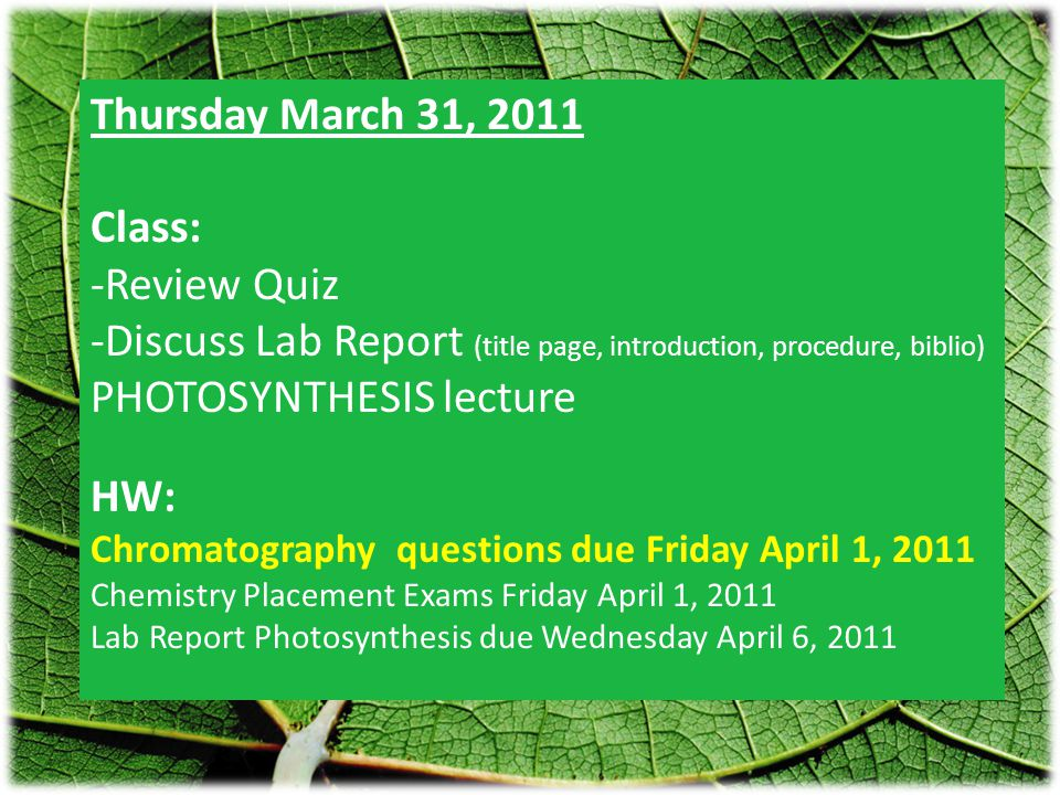 Thursday March 31, 2011 Class: -Review Quiz -Discuss Lab Report (title page, introduction, procedure, biblio) PHOTOSYNTHESIS lecture HW: Chromatography questions due Friday April 1, 2011 Chemistry Placement Exams Friday April 1, 2011 Lab Report Photosynthesis due Wednesday April 6, 2011