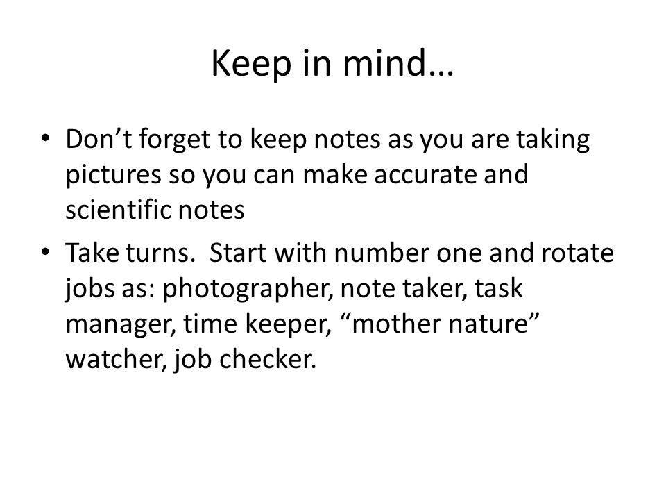 Keep in mind… Don't forget to keep notes as you are taking pictures so you can make accurate and scientific notes Take turns. Start with number one an