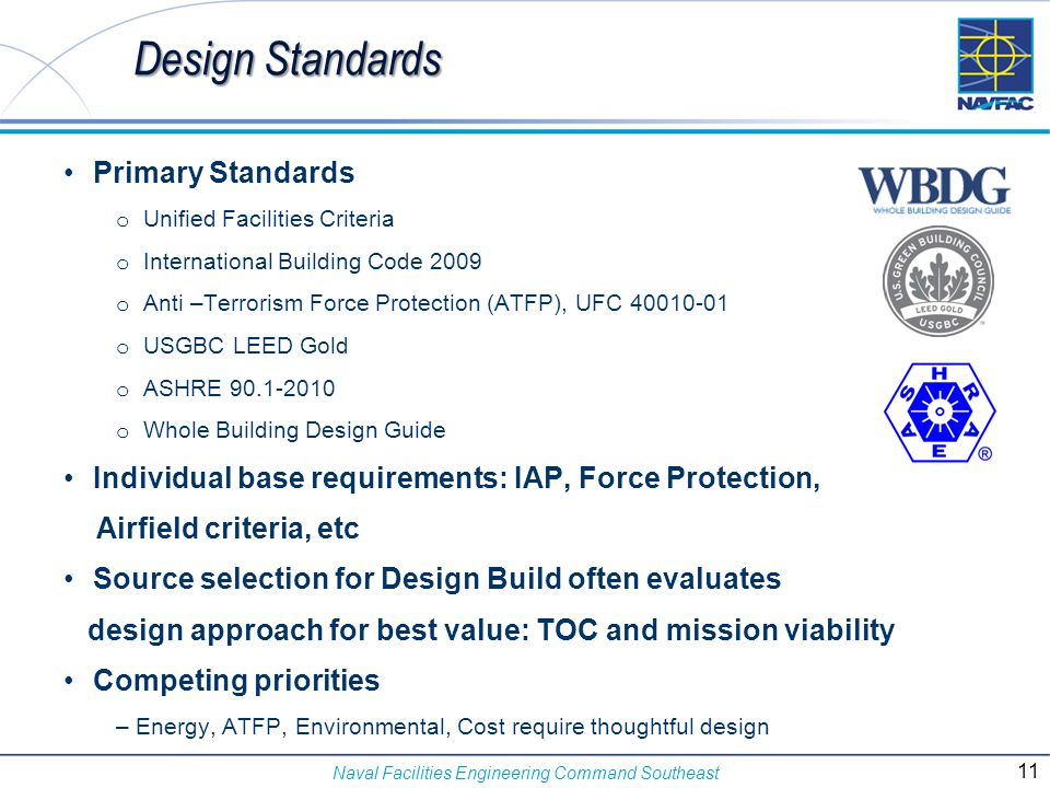 Naval Facilities Engineering Command Southeast Design Standards Primary Standards o Unified Facilities Criteria o International Building Code 2009 o A