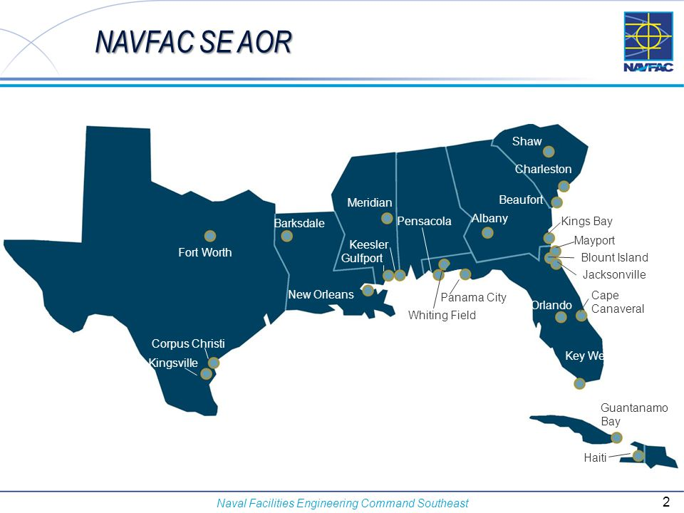 Naval Facilities Engineering Command Southeast Net Zero Study Sites and Data provided by NAVFAC ESC –NAF El Centro, CA –NAS Fallon, NV –NS Guantanamo Bay, Cuba –NB Guam –NAS Key West, FL –NSB New London, CT –JB Pearl Harbor-Hickam, HI –Pacific Missile Range Facility, HI –NS Rota, Spain –NB San Diego, CA  NREL providing primary support to NZEI planning and assessment.