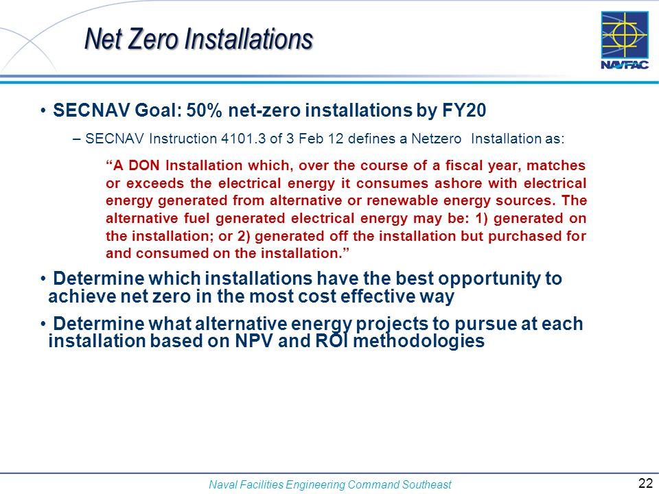 Naval Facilities Engineering Command Southeast SECNAV Goal: 50% net-zero installations by FY20 – SECNAV Instruction 4101.3 of 3 Feb 12 defines a Netze