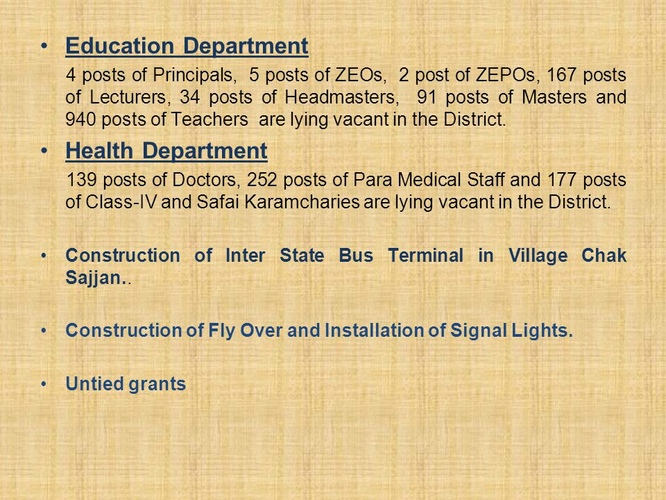 Education Department 4 posts of Principals, 5 posts of ZEOs, 2 post of ZEPOs, 167 posts of Lecturers, 34 posts of Headmasters, 91 posts of Masters and