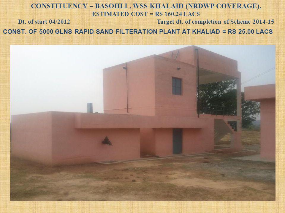 CONST. OF 5000 GLNS RAPID SAND FILTERATION PLANT AT KHALIAD = RS 25.00 LACS CONSTITUENCY – BASOHLI, WSS KHALAID (NRDWP COVERAGE), ESTIMATED COST = RS