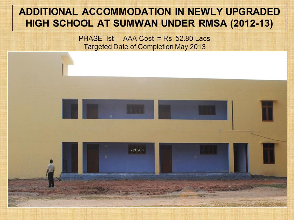 RMSA PHASE Ist AAA Cost = Rs. 52.80 Lacs Targeted Date of Completion May 2013 ADDITIONAL ACCOMMODATION IN NEWLY UPGRADED HIGH SCHOOL AT SUMWAN UNDER R