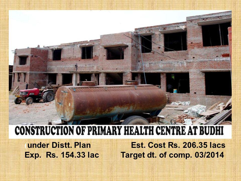 ( under Distt. Plan Est. Cost Rs. 206.35 lacs Exp. Rs. 154.33 lac Target dt. of comp. 03/2014