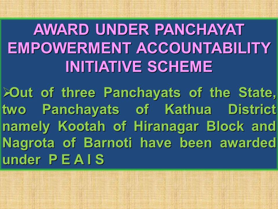 AWARD UNDER PANCHAYAT EMPOWERMENT ACCOUNTABILITY INITIATIVE SCHEME  Out of three Panchayats of the State, two Panchayats of Kathua District namely Ko