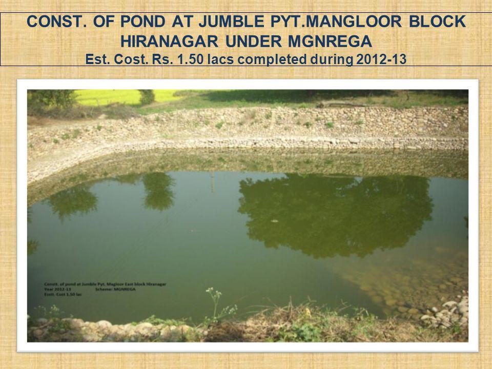 CONST. OF POND AT JUMBLE PYT.MANGLOOR BLOCK HIRANAGAR UNDER MGNREGA Est. Cost. Rs. 1.50 lacs completed during 2012-13
