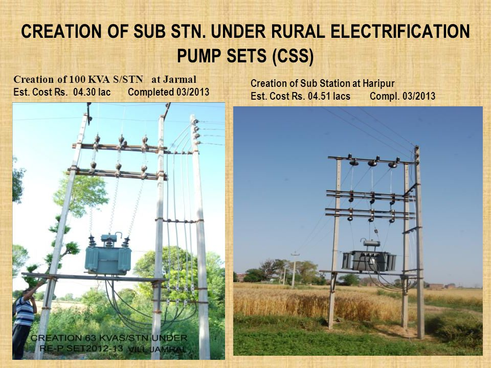 CREATION OF SUB STN. UNDER RURAL ELECTRIFICATION PUMP SETS (CSS) Creation of 100 KVA S/STN at Jarmal Est. Cost Rs. 04.30 lac Completed 03/2013 Creatio