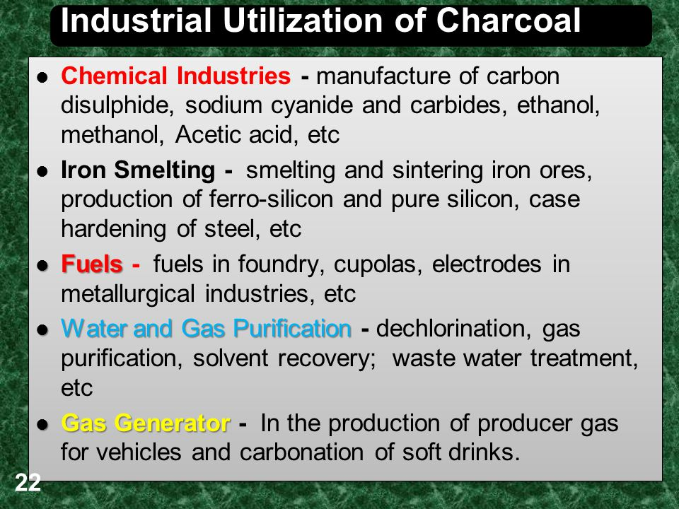 Industrial Utilization of Charcoal Chemical Industries - manufacture of carbon disulphide, sodium cyanide and carbides, ethanol, methanol, Acetic acid