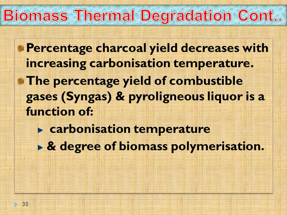 35 Percentage charcoal yield decreases with increasing carbonisation temperature. The percentage yield of combustible gases (Syngas) & pyroligneous li