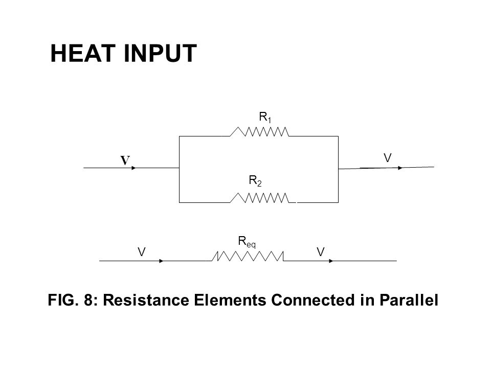 HEAT INPUT 48 R1R1 V RR 2 V R2R2 FIG. 8: Resistance Elements Connected in Parallel VV R eq