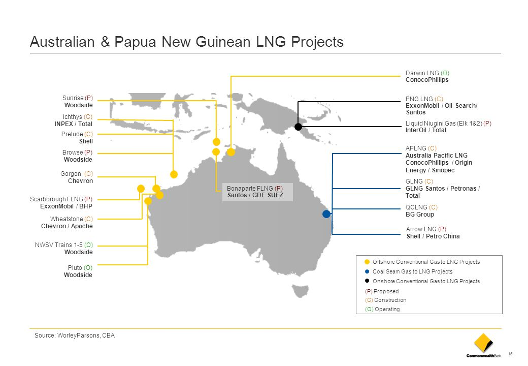 15 Australian & Papua New Guinean LNG Projects Offshore Conventional Gas to LNG Projects Coal Seam Gas to LNG Projects Onshore Conventional Gas to LNG