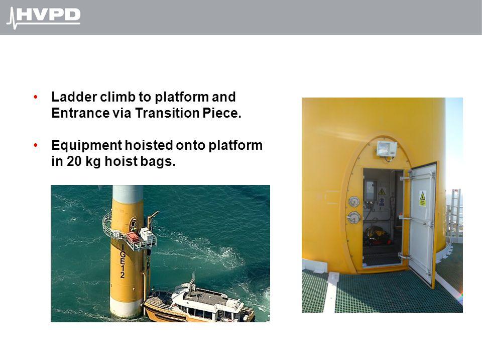 Ladder climb to platform and Entrance via Transition Piece. Equipment hoisted onto platform in 20 kg hoist bags.