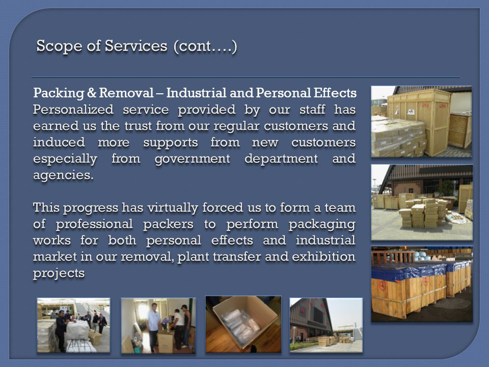 Packing & Removal – Industrial and Personal Effects