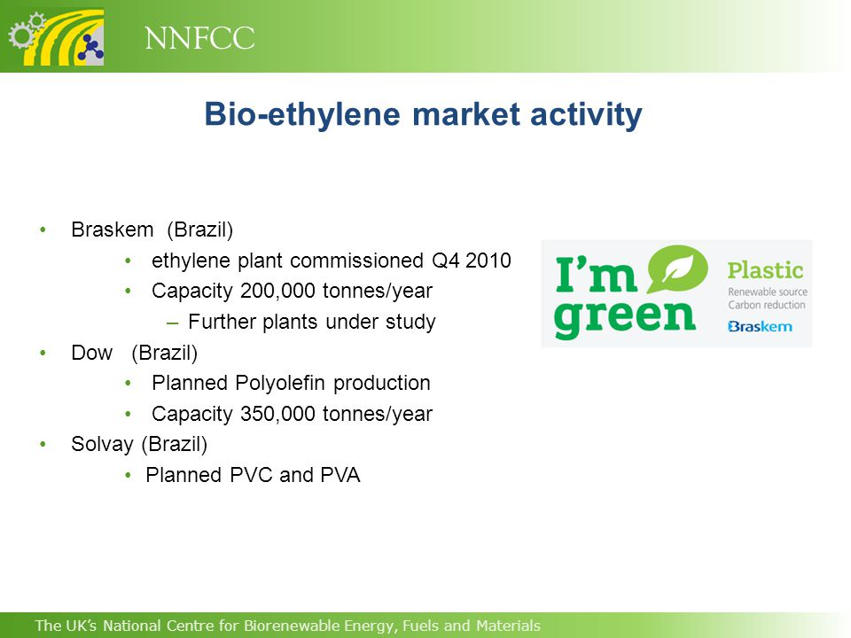 NNFCC The UK's National Centre for Biorenewable Energy, Fuels and Materials Bio-ethylene market activity Braskem (Brazil) ethylene plant commissioned Q4 2010 Capacity 200,000 tonnes/year –Further plants under study Dow (Brazil) Planned Polyolefin production Capacity 350,000 tonnes/year Solvay (Brazil) Planned PVC and PVA