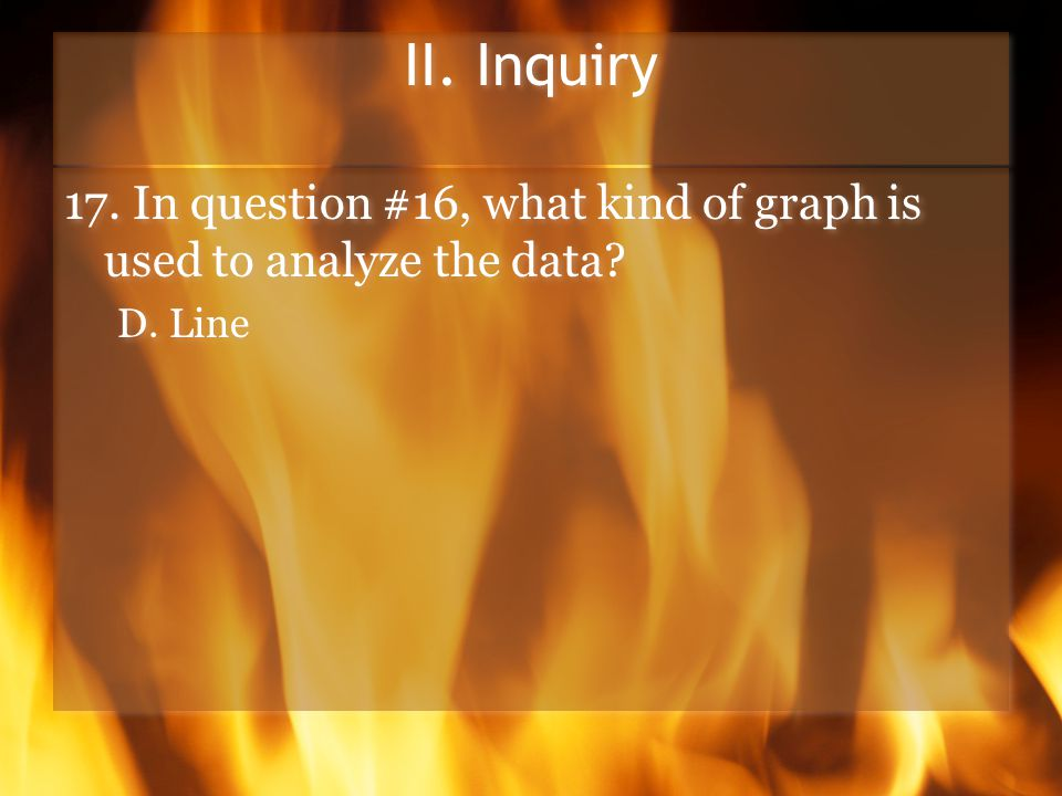 II. Inquiry 17. In question #16, what kind of graph is used to analyze the data.