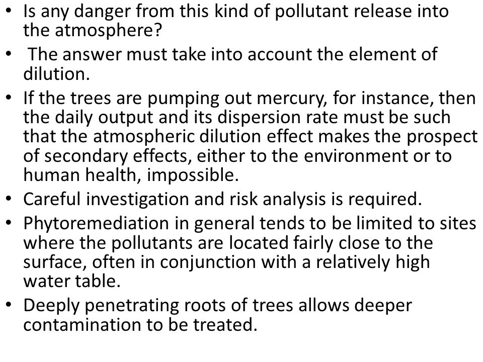 Is any danger from this kind of pollutant release into the atmosphere? The answer must take into account the element of dilution. If the trees are pum