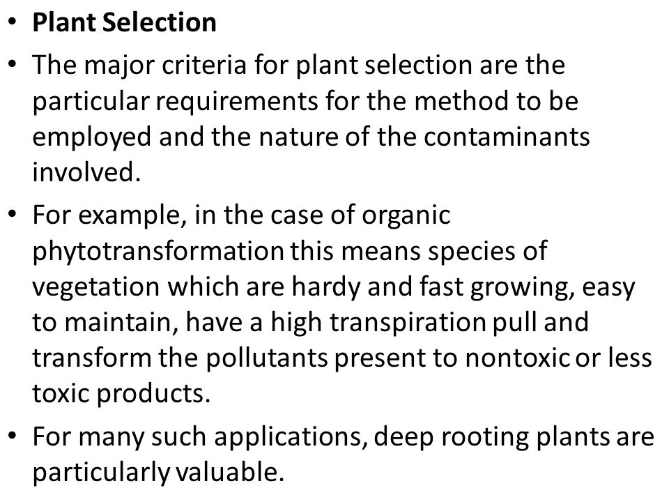Plant Selection The major criteria for plant selection are the particular requirements for the method to be employed and the nature of the contaminant