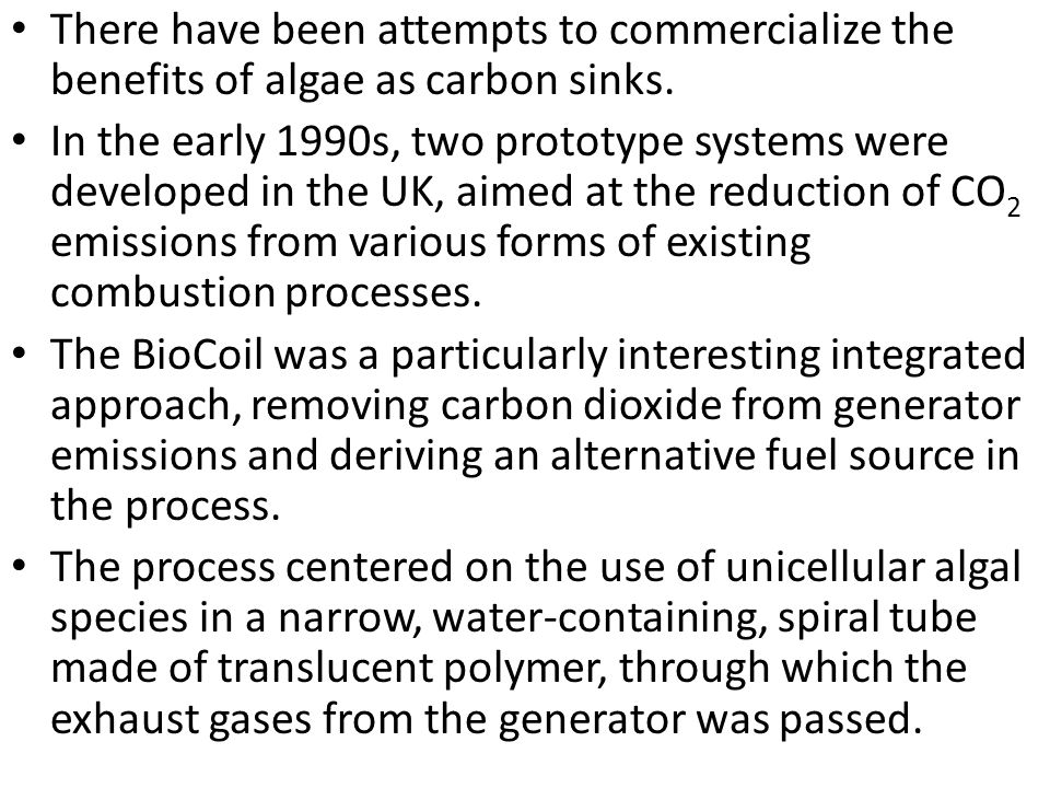 There have been attempts to commercialize the benefits of algae as carbon sinks. In the early 1990s, two prototype systems were developed in the UK, a