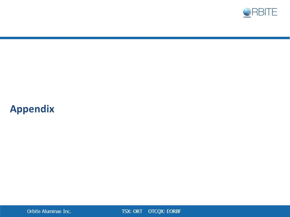 TSX: ORT OTCQX: EORBF Appendix Orbite Aluminae Inc.
