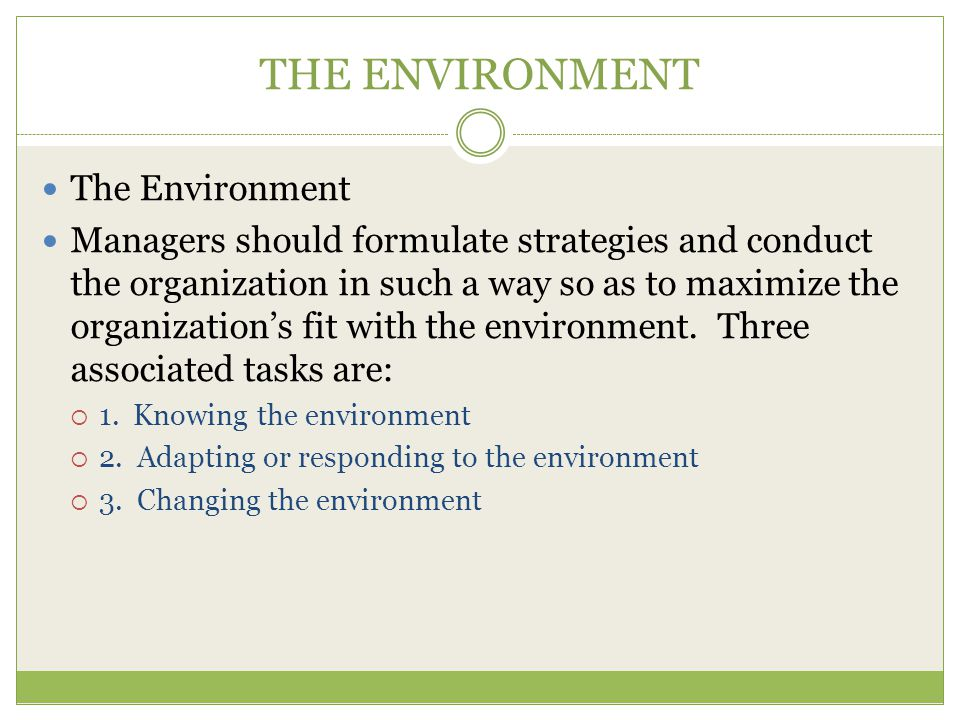 THE ENVIRONMENT The Environment Managers should formulate strategies and conduct the organization in such a way so as to maximize the organization's fit with the environment.
