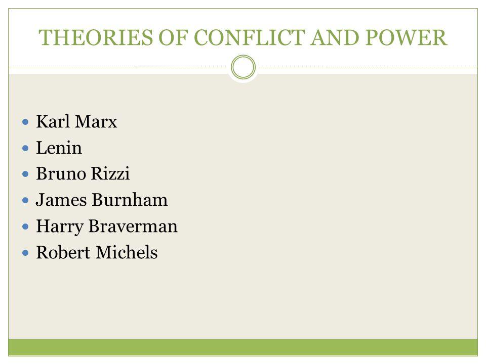 THEORIES OF CONFLICT AND POWER Karl Marx Lenin Bruno Rizzi James Burnham Harry Braverman Robert Michels