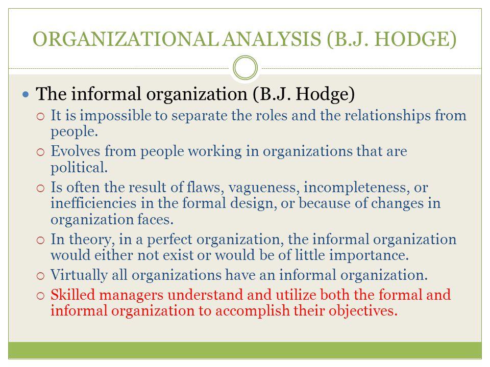 ORGANIZATIONAL ANALYSIS (B.J.HODGE) The informal organization (B.J.