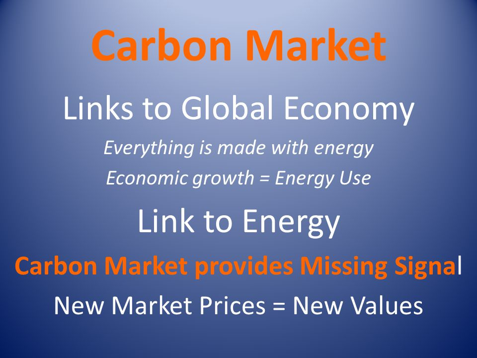 Carbon Market Links to Global Economy Everything is made with energy Economic growth = Energy Use Link to Energy Carbon Market provides Missing Signal New Market Prices = New Values