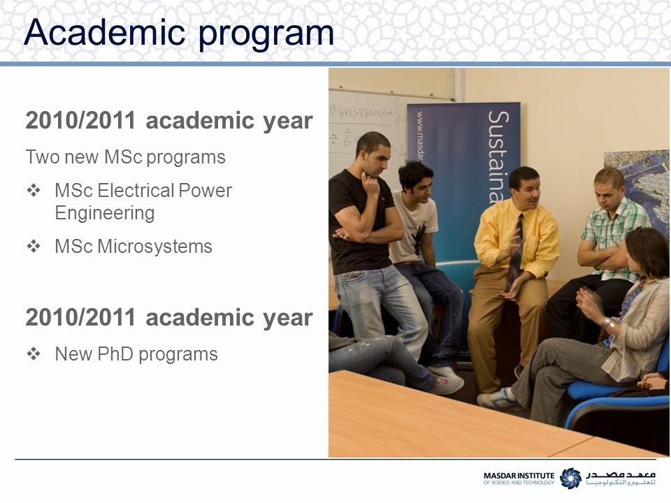Academic program 2010/2011 academic year Two new MSc programs  MSc Electrical Power Engineering  MSc Microsystems 2010/2011 academic year  New PhD programs