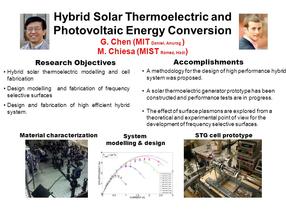 Hybrid Solar Thermoelectric and Photovoltaic Energy Conversion G.