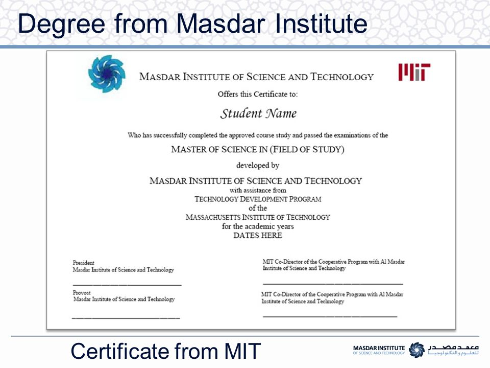 Degree from Masdar Institute Certificate from MIT