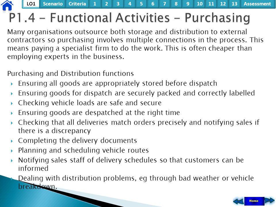 LO1ScenarioCriteria2Assessment3415678910111213 Many organisations outsource both storage and distribution to external contractors so purchasing involv