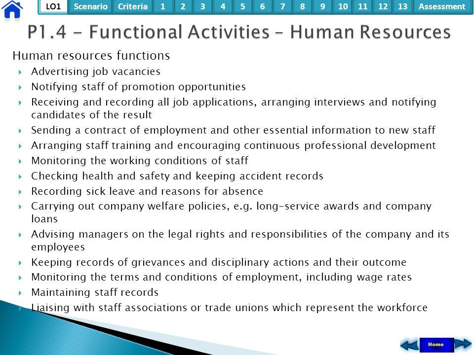 LO1ScenarioCriteria2Assessment3415678910111213 Human resources functions  Advertising job vacancies  Notifying staff of promotion opportunities  Re