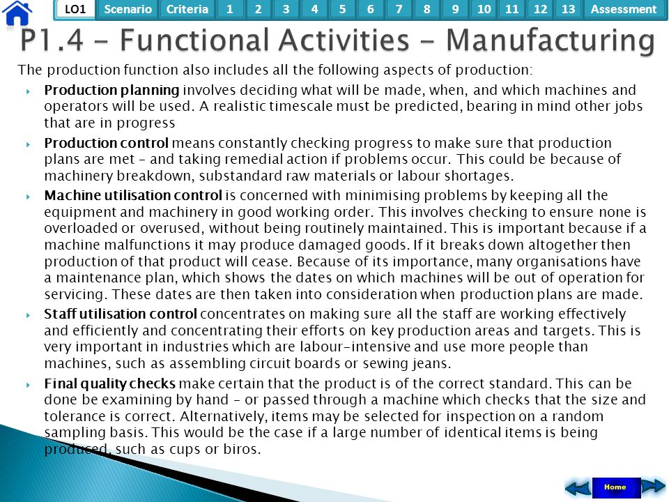 LO1ScenarioCriteria2Assessment3415678910111213 The production function also includes all the following aspects of production:  Production planning in