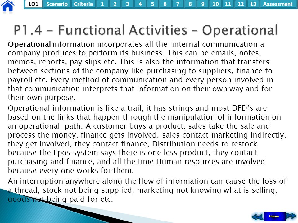 LO1ScenarioCriteria2Assessment3415678910111213 Operational information incorporates all the internal communication a company produces to perform its b
