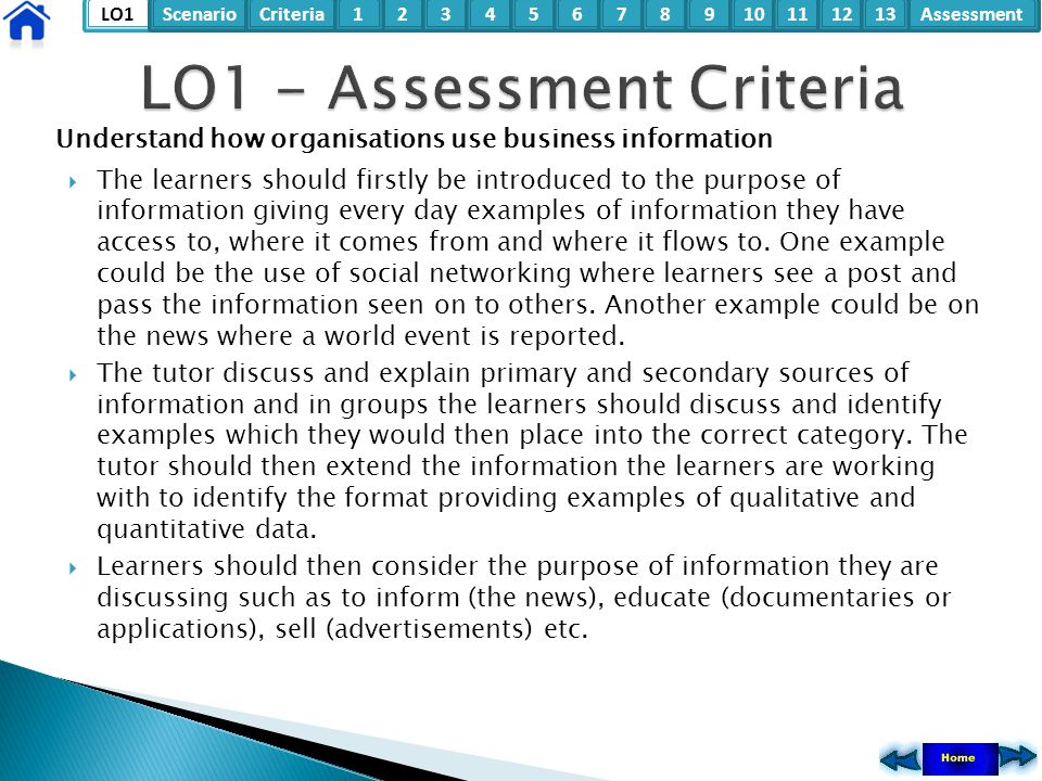 LO1ScenarioCriteria2Assessment3415678910111213 Understand how organisations use business information  The learners should firstly be introduced to th