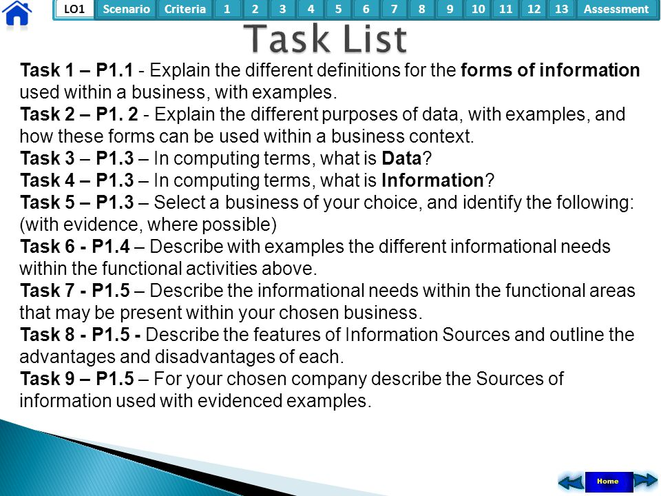 LO1ScenarioCriteria2Assessment3415678910111213 Task 1 – P1.1 - Explain the different definitions for the forms of information used within a business,