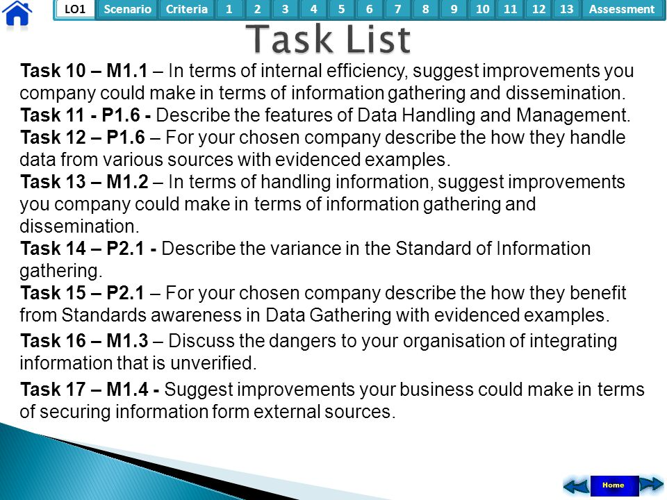 LO1ScenarioCriteria2Assessment3415678910111213 Task 10 – M1.1 – In terms of internal efficiency, suggest improvements you company could make in terms