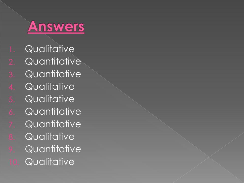 1. Qualitative 2. Quantitative 3. Quantitative 4. Qualitative 5. Qualitative 6. Quantitative 7. Quantitative 8. Qualitative 9. Quantitative 10. Qualit
