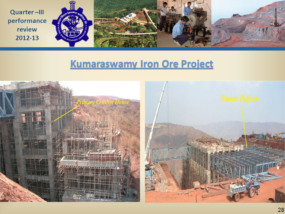Quarter –III performance review 2012-13 28 Kumaraswamy Iron Ore Project