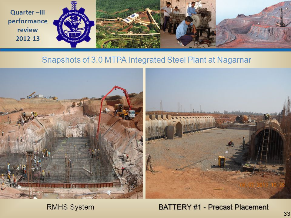 Quarter –III performance review 2012-13 33 Snapshots of 3.0 MTPA Integrated Steel Plant at Nagarnar RMHS System BATTERY #1 - Precast Placement