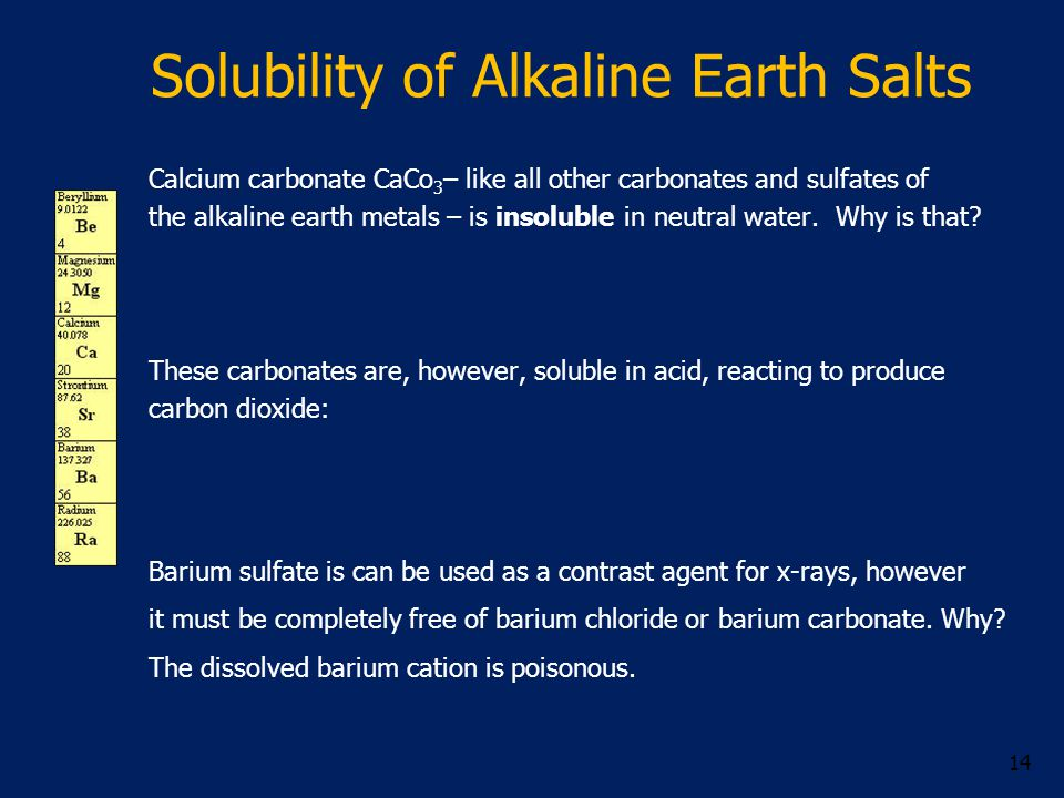 Solubility of Alkaline Earth Salts Calcium carbonate CaCo 3 – like all other carbonates and sulfates of the alkaline earth metals – is insoluble in neutral water.