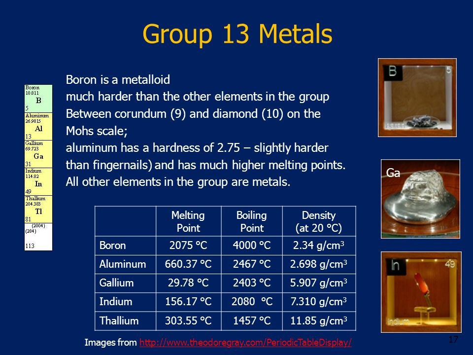 Group 13 Metals Boron is a metalloid much harder than the other elements in the group Between corundum (9) and diamond (10) on the Mohs scale; aluminu