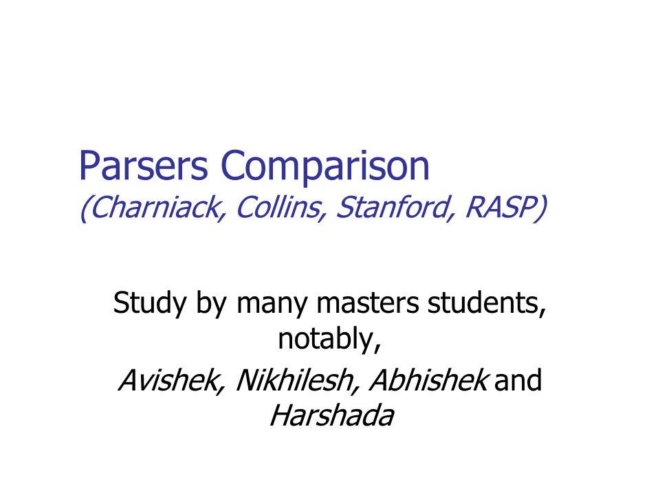 Parsers Comparison (Charniack, Collins, Stanford, RASP) Study by many masters students, notably, Avishek, Nikhilesh, Abhishek and Harshada